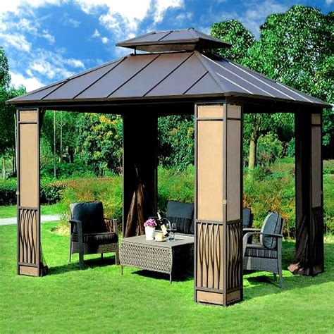 Metal Patio Gazebo 10 X 12 Heavy Duty Galvanized Steel Hardtop Wyndham Patio Gazebo Ebay