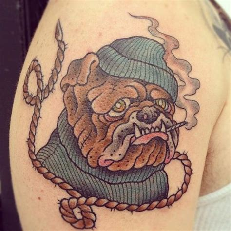 tribal bulldog tattoo a twistaroonie an arm of an bulldog