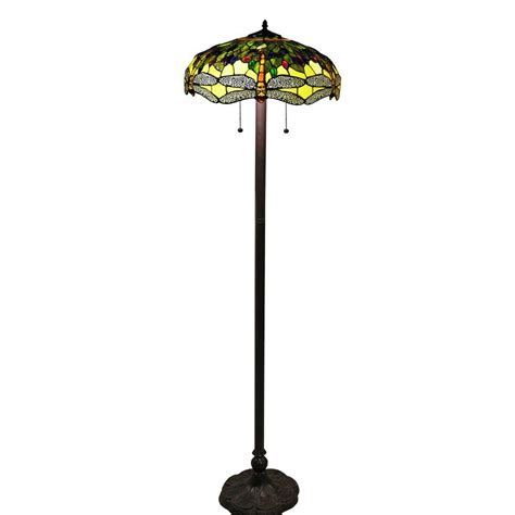 Style Dragonfly Floor L by Style 61 In Bronze Indoor Floor L With Verde Dragonfly Shade 305g16flr The Home Depot