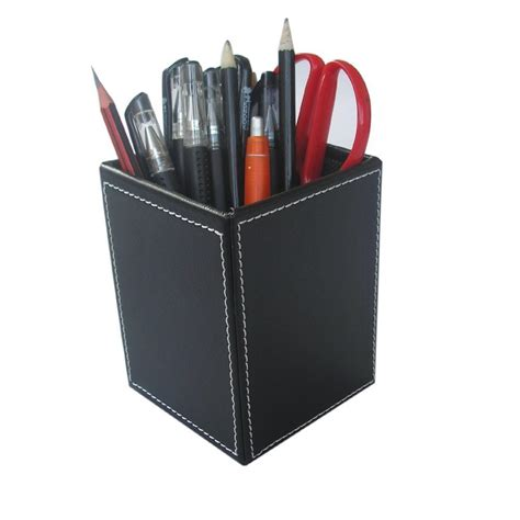 Black Desk Organizer 70 Kingfom Leather Square Pens Pencils Holder Desk Organizer Office Desk Accessories Black