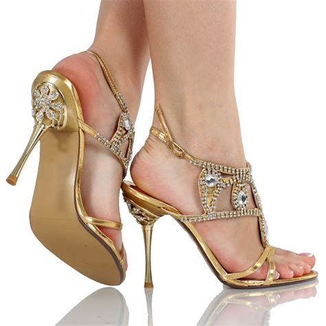 Gold Heels For Wedding by All That Glitters Is Gold And Rhinestone Open Toe Wedding