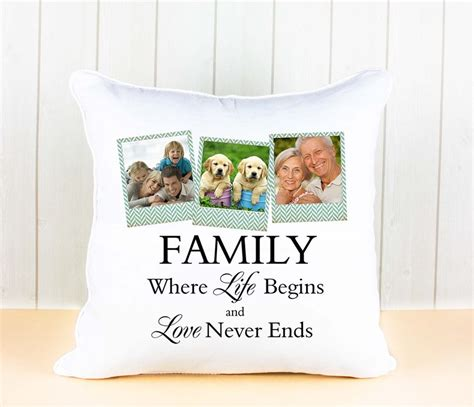 personalised white luxury cushion cover with family quote