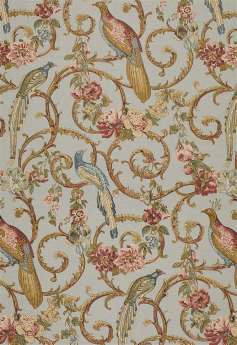 schumacher fabric schumacher madrigal birds scrolls linen fabric blue rose multi