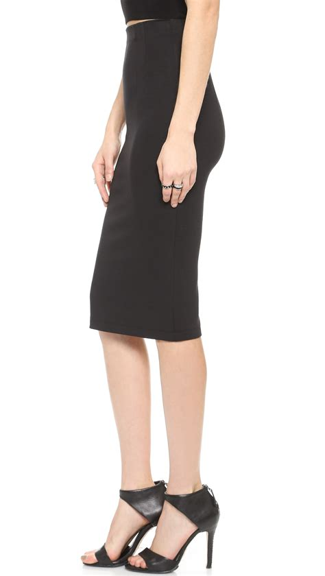 high waist pencil skirt black in