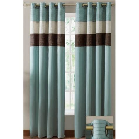 Brown Grommet Curtains Essence Blue Brown Two Grommet Drapes 60 X 84 Each