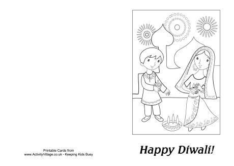 Diwali Card Templates Sparklebox by Diwali Colouring Card Diya