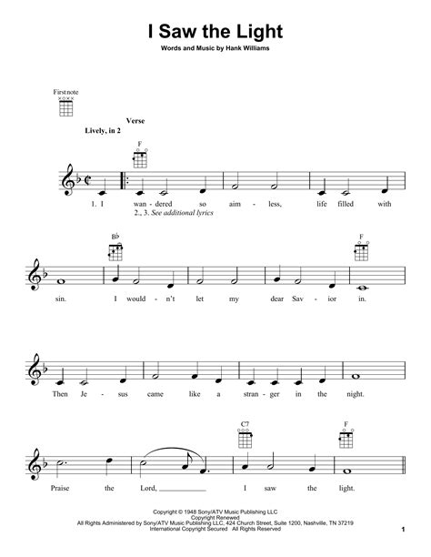 Song I Saw The Light by I Saw The Light Sheet By Hank Williams Ukulele 94240