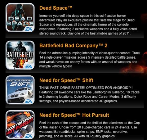 ea for android sony ericsson ea offering 4 free downloads for the xperia play android central
