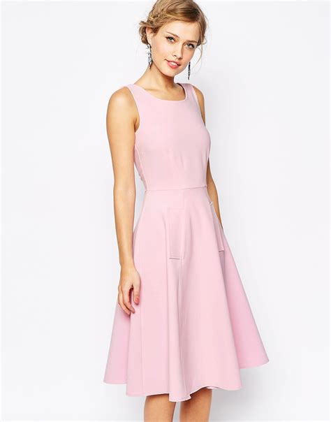 Closet Dress by Closet Midi Skater Dress With Pockets In Pink Lyst