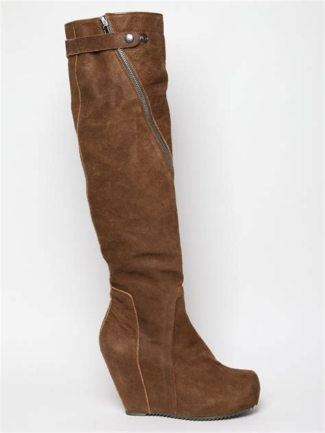 rick owens mens megacreeper high wedge boot in brown for