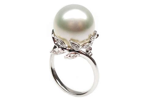 white cultured south sea pearl ring 11 12mm aaa