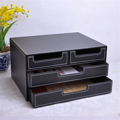 Desk Box Organizer 3 Layer 4 Drawer Wood Structure Leather Desk Filing Cabinet Storage Box Office Organizer