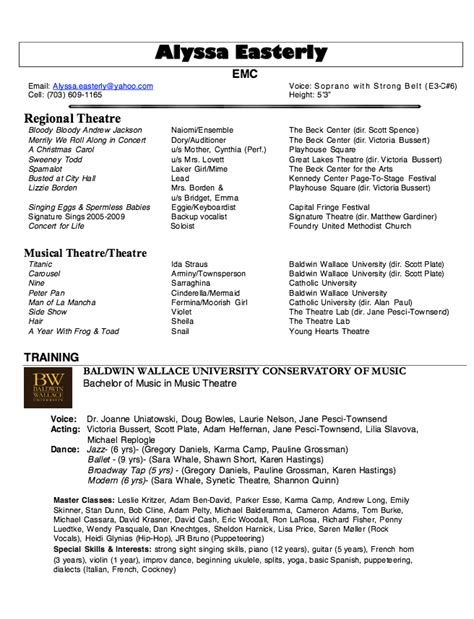 musical resume template musical theatre resume best template collection