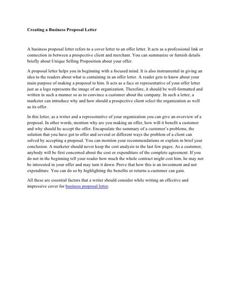 Creating a business proposal letter