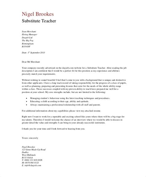 Cover Letter For Teachers Exles by Cover Letter Exle 9 Free Word Pdf Documents Free Premium Templates