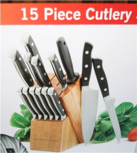 wolfgang puck kitchen knives wolfgang puck 15 piece cutlery set cutlery set with block