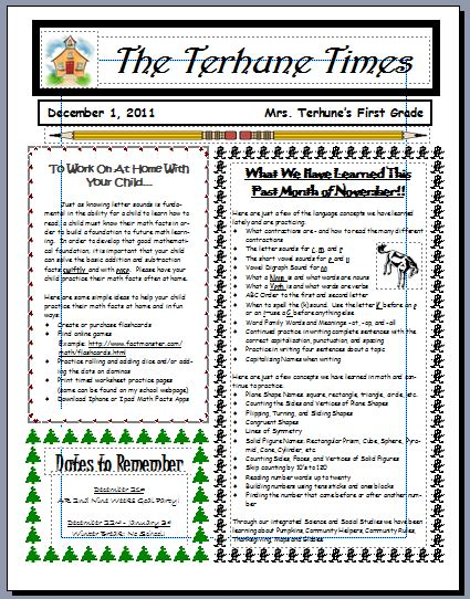 Teaching With Terhune Monthly Newsletters Monthly Classroom Newsletter Template