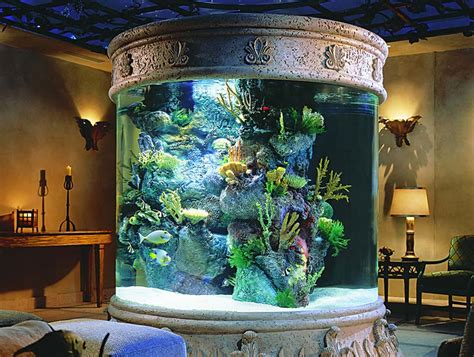 aquarium home decor luring interior living room decoration idea with round