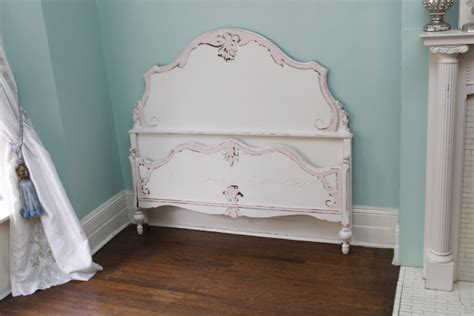 antique full bed frame shabby chic distressed pink white vintage double cottage girls bedroom