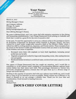 cover letter for sous chef chef cover letter sle writing tips resume companion