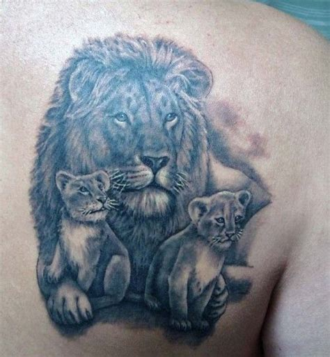 lion family tattoo powerful design family design
