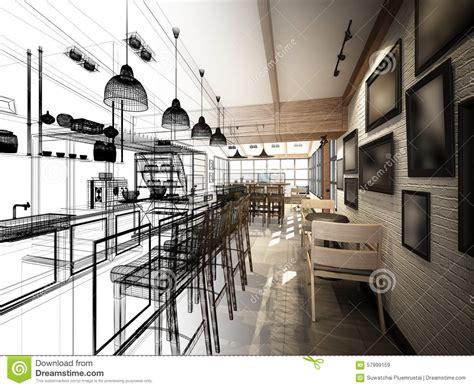 coffee shop design architecture forum sketch design of coffee shop stock illustration image