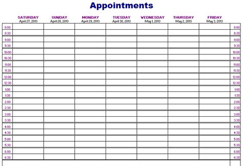 weekly appointment calendar template free image gallery monthly appointment calendar template