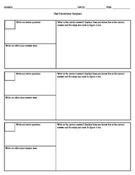 Test Templates For Teachers by Math Test Correction Worksheet Pdf Math Best Free