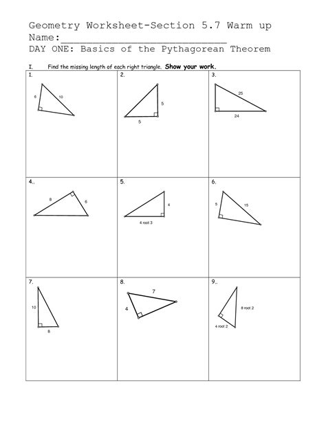 pythagorean theorem worksheet 10 best images of pythagorean theorem worksheets printable