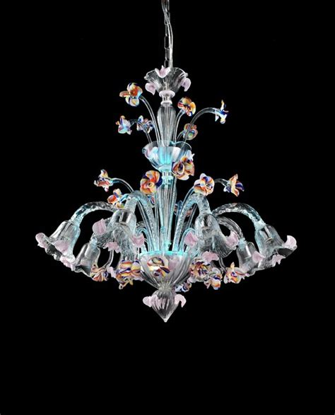 Murano Glass Chandelier Light Blue Led Murano Glass Chandelier Quot Carnevale