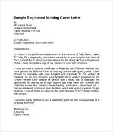 Registered Resume Cover Letter Sle Nursing Cover Letter Template 8 Free Documents In Pdf Word