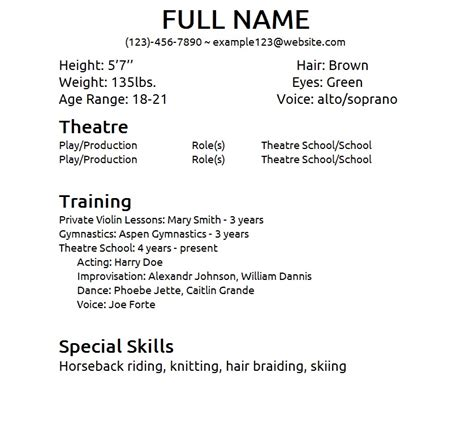 theatre resume templates beginner acting resume sle
