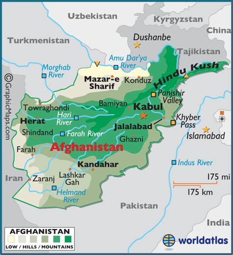 5 themes of geography afghanistan afghanistan large color map