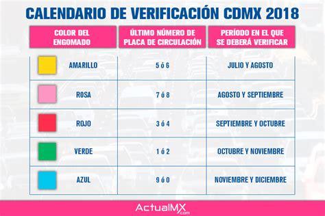 calendario verificacin 2017 calendario de verificaci 243 n vehicular 2018 en la cdmx