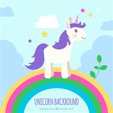 imagenes de unicornios morados unicornio morado sobre un arcoiris descargar vectores gratis