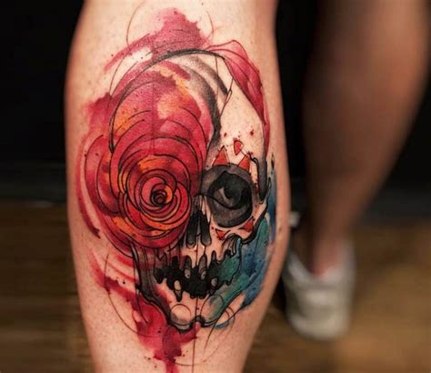 watercolor skull tattoo by felipe rodrigues best tattoos