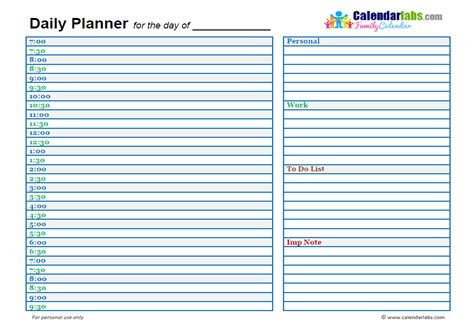 2017 family day planner free printable templates