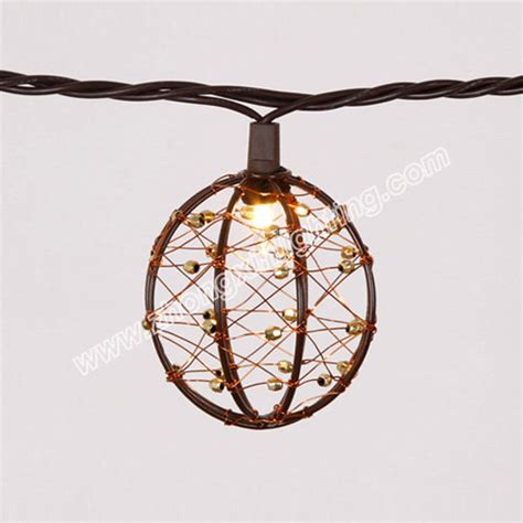 Kroger Patio Set Garden Decorative Beaded Copper Wire Ball String Light