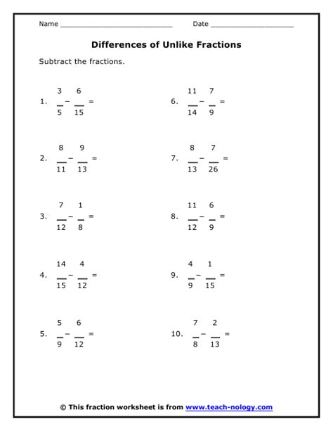 differences of unlike fractions