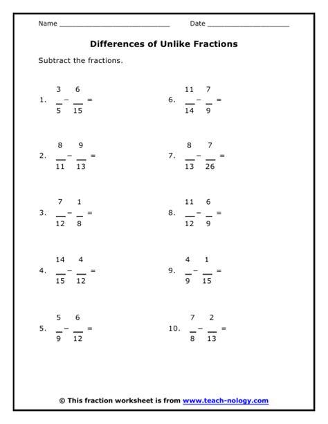 adding fraction with unlike denominators worksheet