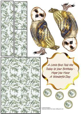 Papermau Barn Owl Miniature Paper - barn owl mini easel cup155354 66 craftsuprint