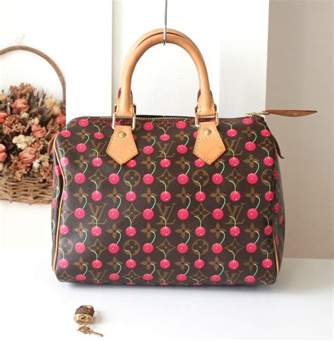 Louis Vuitton Louis Vuitton Murakami Cherry Blossom Cerises Sac Plat Handbag by Louis Vuitton Cerises Cherry Monogram Speedy 25 Murakami