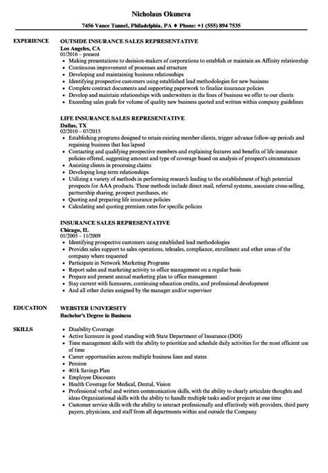 Insurance Sales Resume by Insurance Sales Representative Resume Sles Velvet