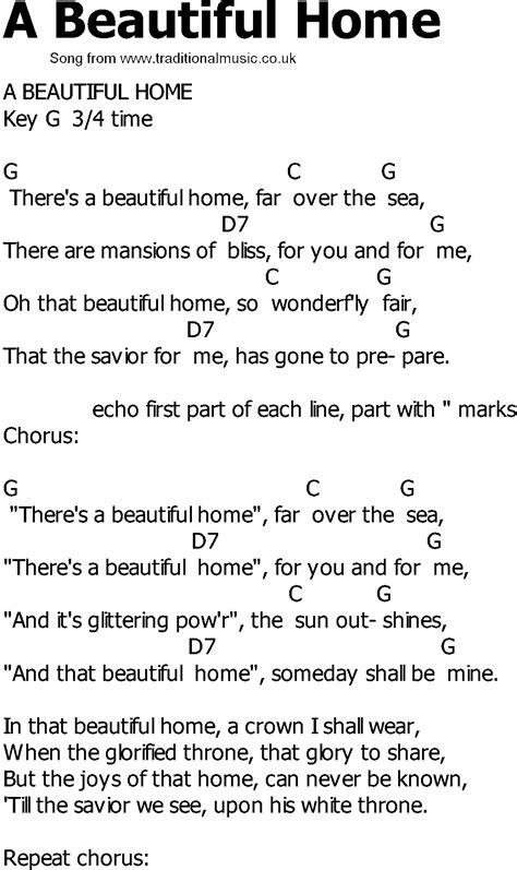 country song lyrics with chords a beautiful home