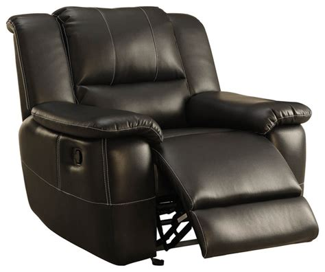 Leather Recliner Chairs Homelegance Cantrell Glider Reclining Chair In Black Leather Traditional Recliner Chairs