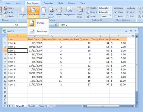 landscape layout in excel excel change page orientation