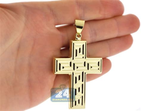 10k yellow gold key cross mens pendant
