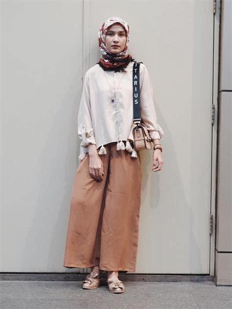 Baju Setelan Kutung Garis Bunga Celana Kulot Hitam Anak Bayi Cewek inspirasi padu padan pakaian dengan celana kulot untuk para hijabers spice