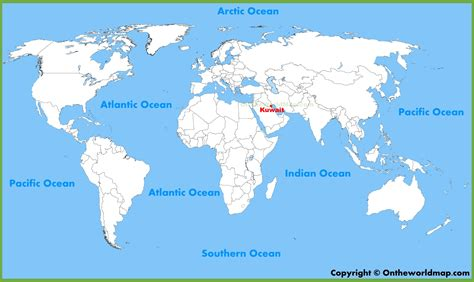 kuwait map in world kuwait location on the world map