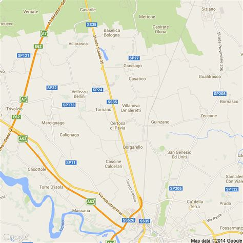 mappa certosa di pavia foto dall alto delle strade comune di certosa di pavia